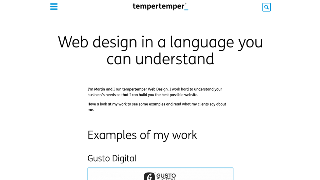 "2014 version of my website's homepage with the main heading ""Web design in a language you can understand"", going straight into examples of my work"