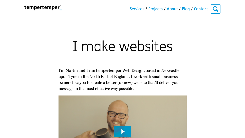 "2018 version of my website's homepage, with the simple heading ""I make websites"", followed by a video introduction"