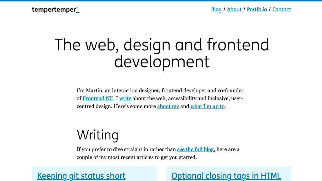"2020 version of my website's homepage, with the headline ""The web, design and frontend development"", going straight to shortcuts to my most recent blog posts"