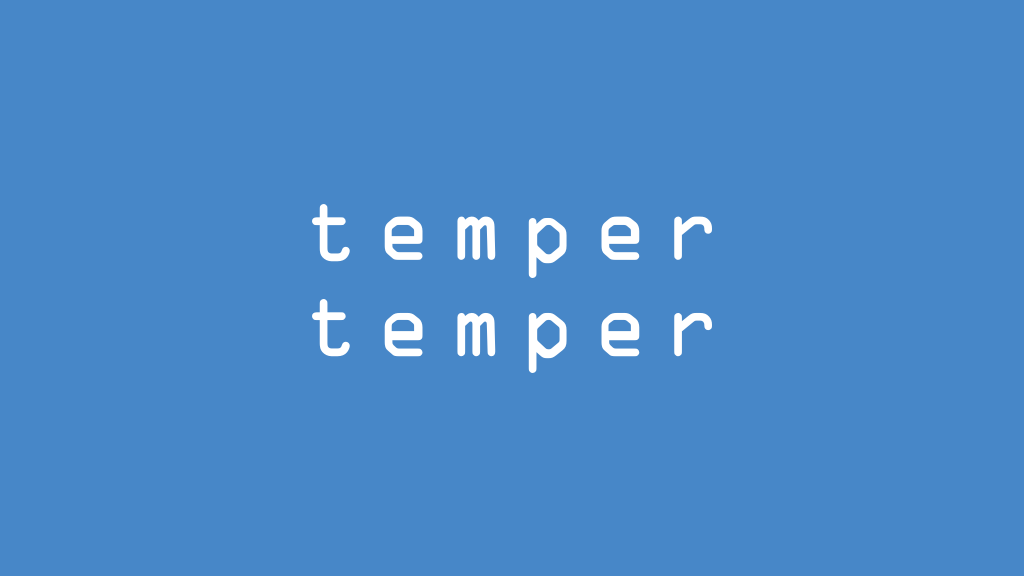 The original tempertemper logo, using OCR-A in white against a blue background