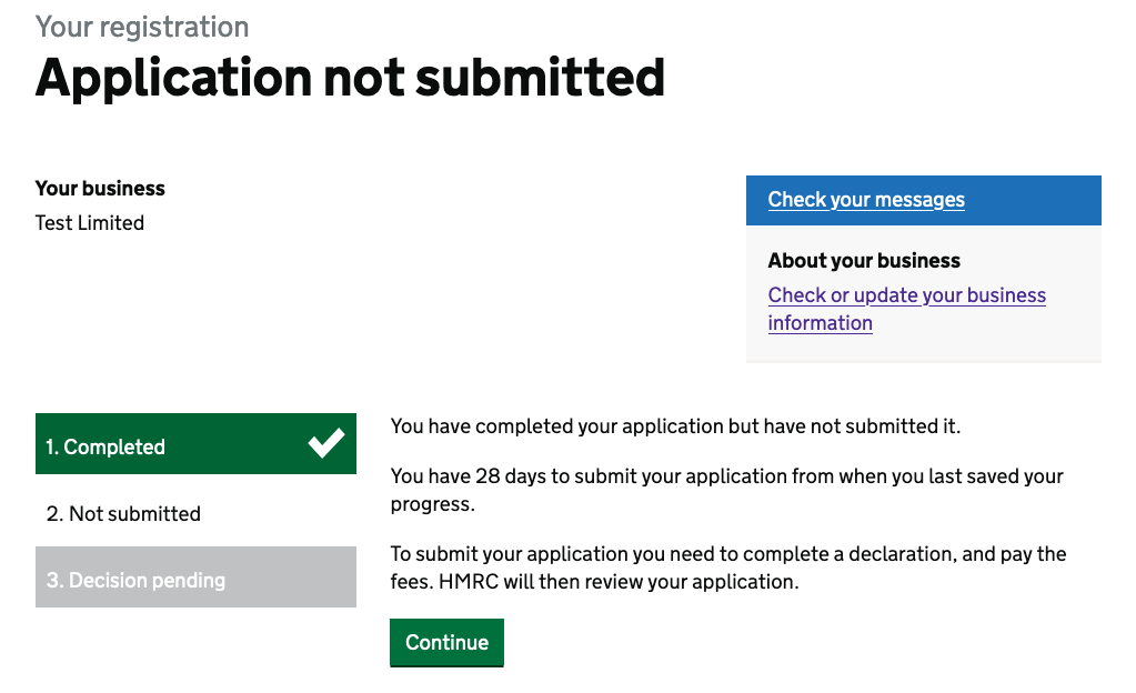 Application complete but not submitted, showing a progress indicator: 'Completed' in white text on green with a checkmark alongside, 'Not submitted' in black on white, and 'Decision pending' in white text on light grey